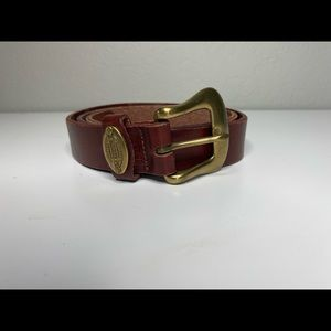 Fossil Bridle Brown Leather Belt Brass Buckle L